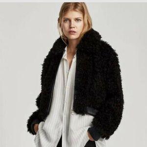 Zara women's cropped teddy coat - black